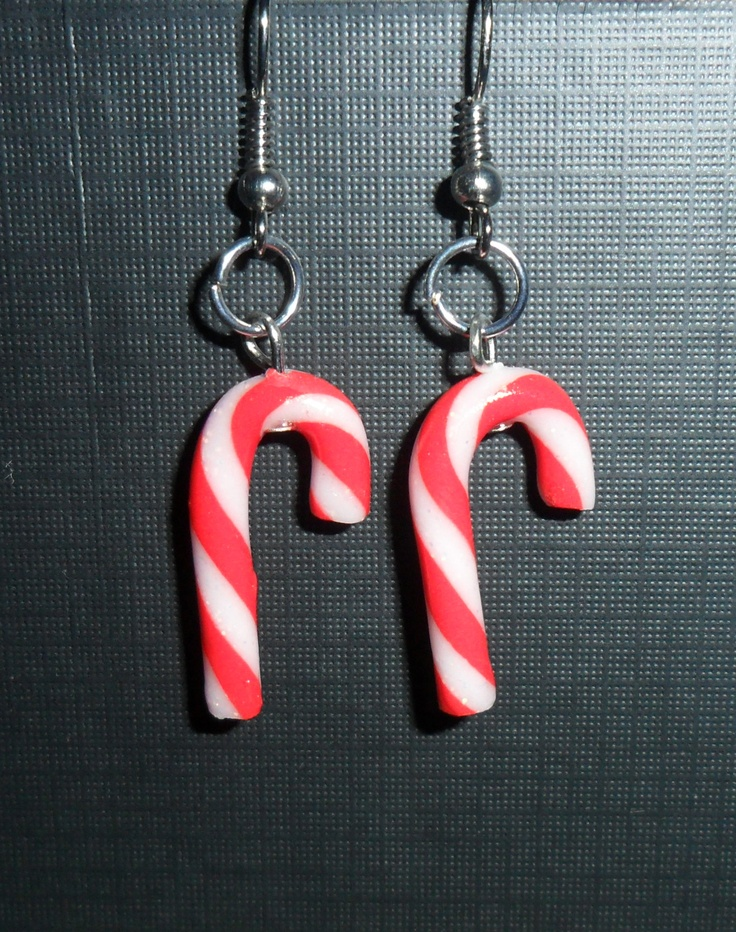 candy cane earrings  #polymer clay #fimo #sculpey #christmas