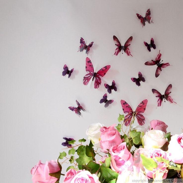 Stickers muraux - Papillons 3D roses - 18 stickers papillons 3D fidèle à la vie | Ambiance-sticker.com
