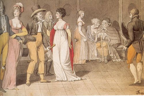 Coiffure a la Victime and Chemise a la Victime worn with the red shawl.