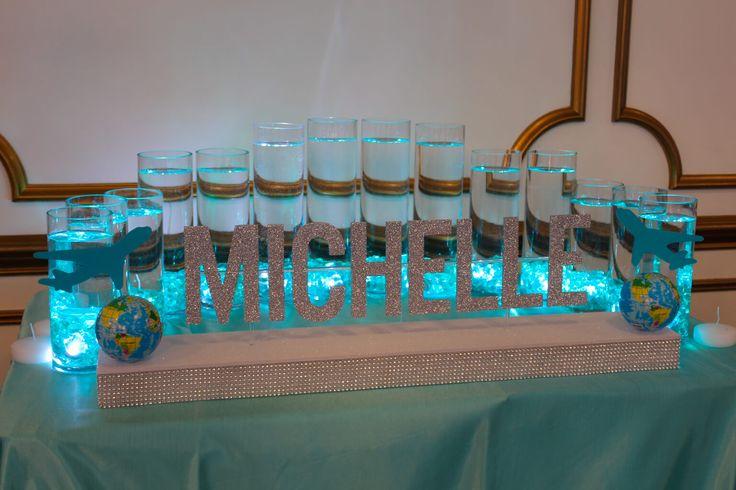 Turquoise LED Candle Lighting Cylinders LED Candle Lighting Cylinders with Custom Name Base for Travel Themed Bat Mitzvah