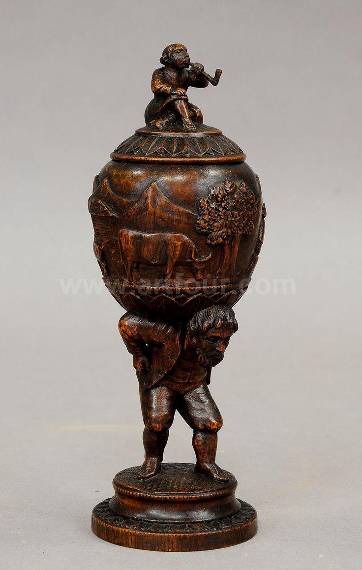 Figural Carved Wood Folk Art Humidor Ca 1880 Black