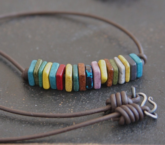 Earthy Mix  Square Clay Beads and Leather by RELMoriginals on Etsy, $28.00