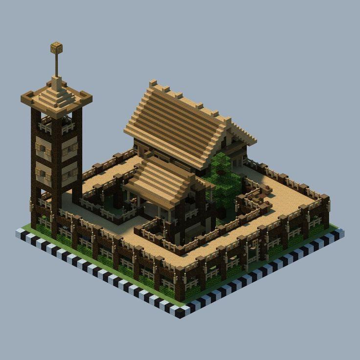Ich stellte die Häuser in die Mitte und hatte einen großen, offenen Hof, dann die Wände …