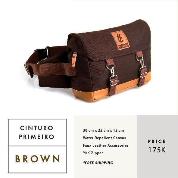 CINTURO PRIMEIRO BROWN  IDR 175.000  FREE SHIPPING ALL OVER INDONESIA    Dimension: 30 cm x 22 cm x 12 cm 8 Litre   Material: High Quality Canvas WR Faux Leather Accessories Leather Accessories YKK Zipper  #GoodChoiceforGoodLooking