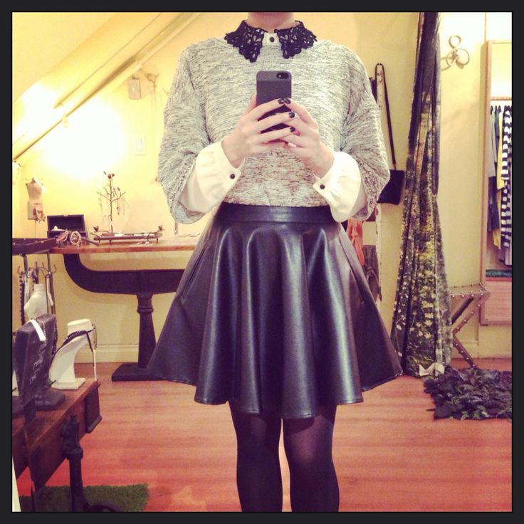 Lace collar blouse + sparkles trimmed tweed paired with high waisted circle skirt