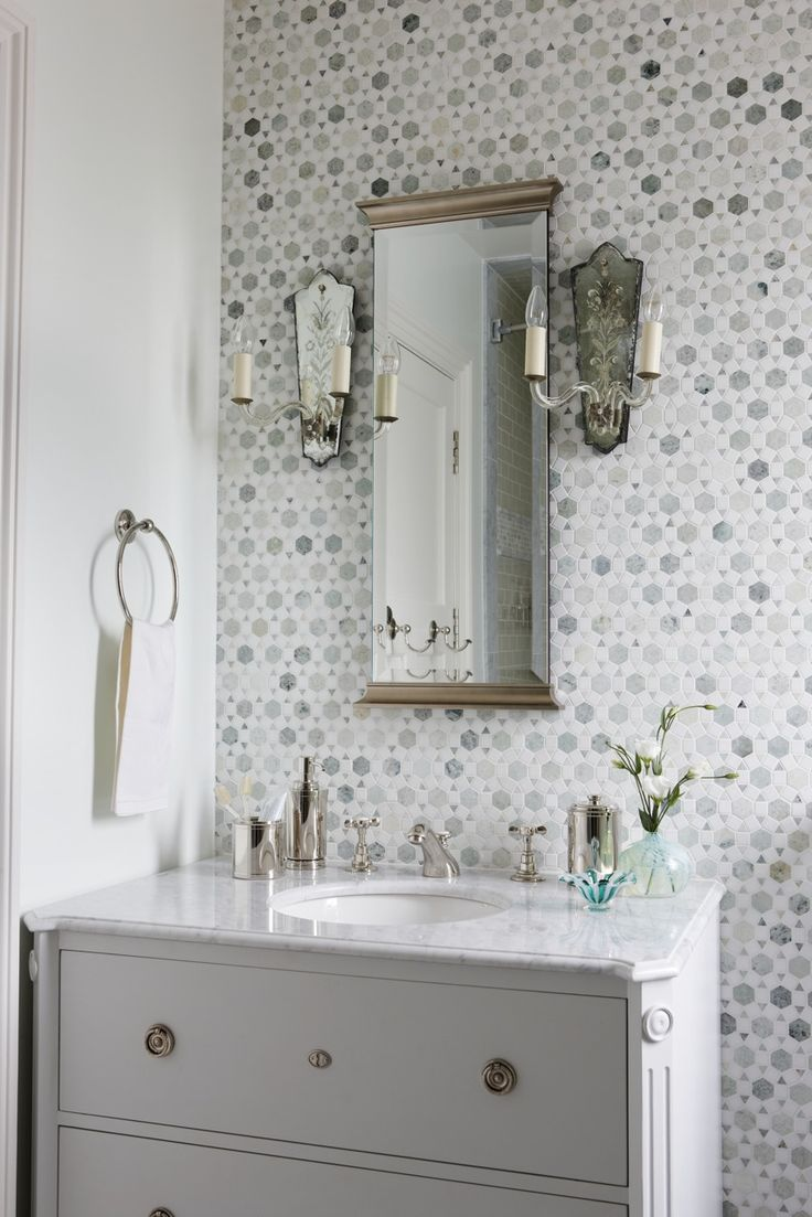 Bathroom idea shower tile bathroom shower bathroom 2 bp blogspot com - Sunflower Carrara Thassos Tile Transitional Bathroom Sarah Richardson Design Stunning Bathroom With White Bathroom Vanity With Marble Top Mirror Flanked