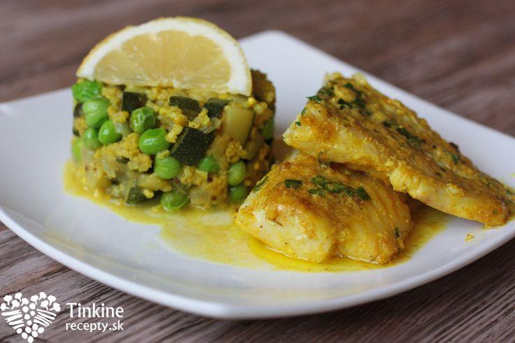 Treska na kari s maslovo-citrónovou omáčkou a cuketové pšenoto - Powered by @ultimaterecipe