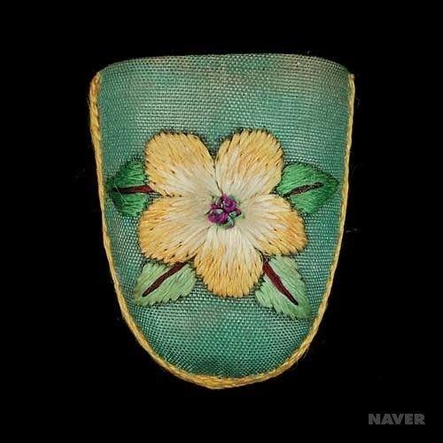 Flower embroidery motif - Korean handmade thimble 골무 : JASU137 - 유