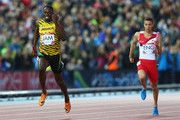 Usain Bolt runs last leg of men's 4X100m relay Commonwealth Games, 08 02 2014. Jamaica wins GOLD & sets Games' record