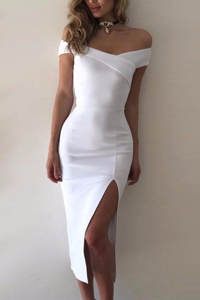 db2ca05e62 Sexy White Off Shoulder Homecoming Dress