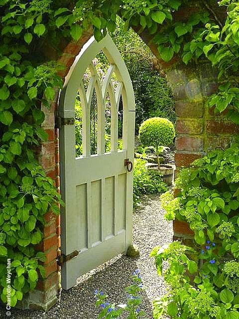 Beautiful, Painted, Gothic Wooden Gate And Wollerton Old Hall Gardens  Source: The Galloping Gardener Photography By Charlotte Weychan
