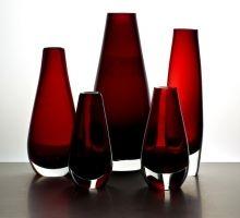 Set of five red sommerso Reijmyre vases
