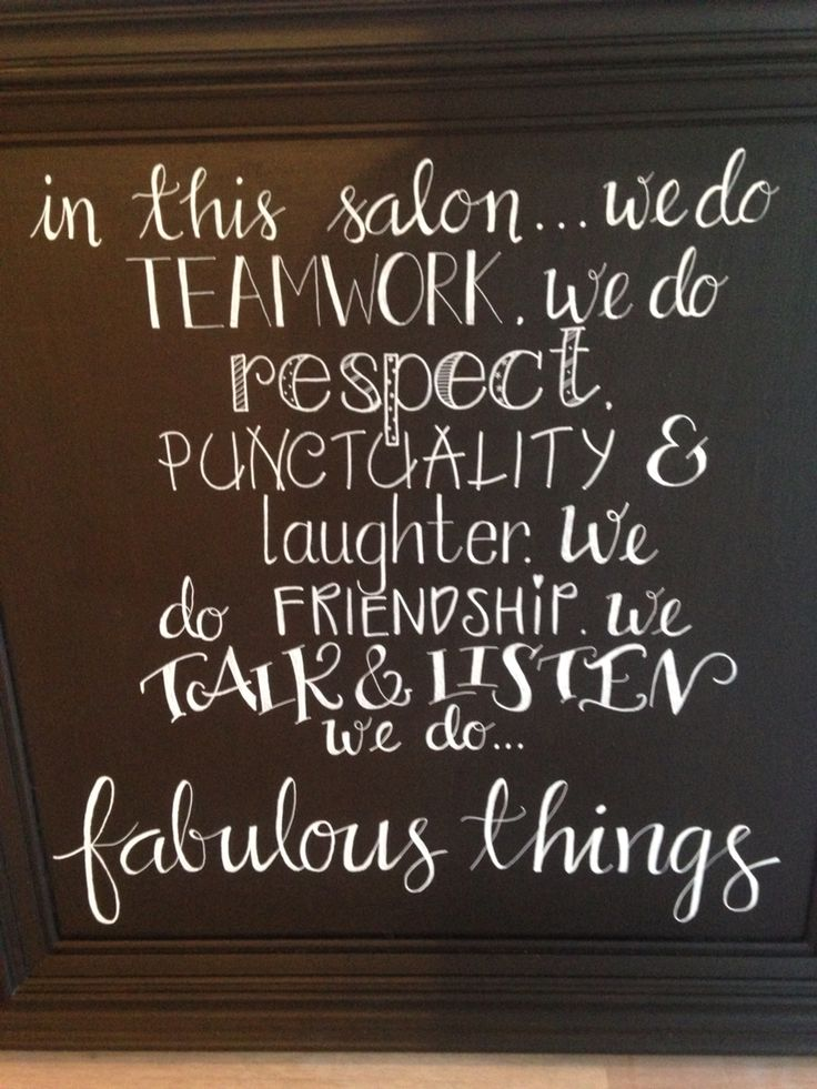 Salon chalkboard art