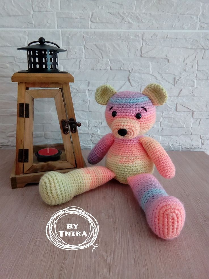Teddy bear HAYLEY, crochet amigurumi, by Tnika