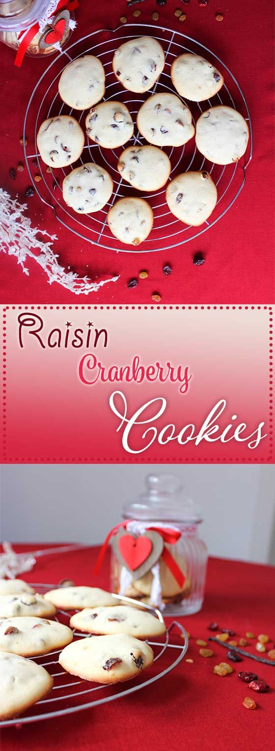 Vanilla-flavored, raisin cranberry cookies. Super soft and and ready in 30 minutes!