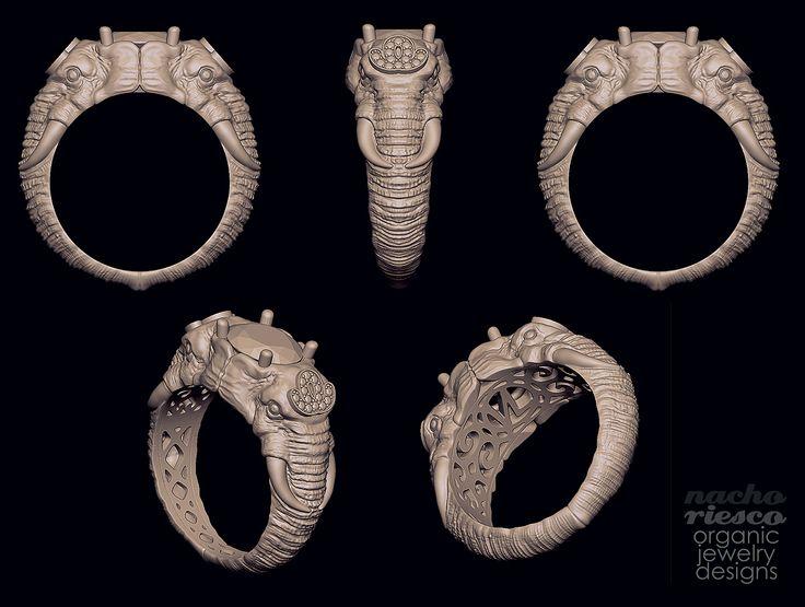 Anillo Elefantes. Encargo para y en colaboración con www.facebook.com/designer3dmodel (Copyright of www.facebook.com/designer3dmodel) Elephants Ring. Made for, and collaboration, with www.facebook.com/designer3dmodel (Copyright of www.facebook.com/designer3dmodel)