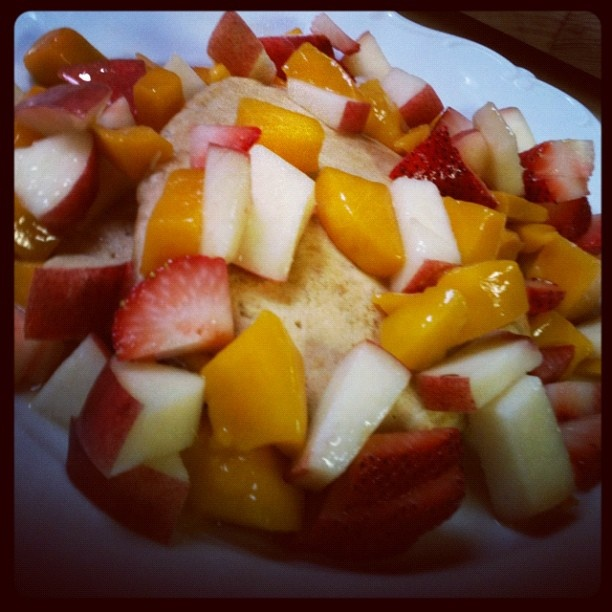 Bob's Red Mill Pancake mix topped w/freash mango, peach and strawberries. Twitter / Recent images by @hlynnbechtold