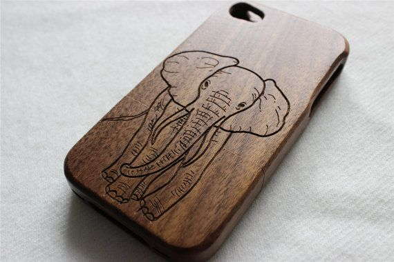 iphone 5s case  Wood iphone 5 case  Engraved elephant by Janecases, $23.85