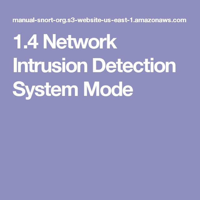 1.4 Network Intrusion Detection System Mode