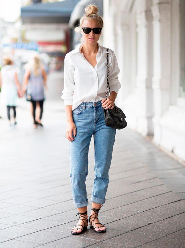 camisa branca com calca jeans