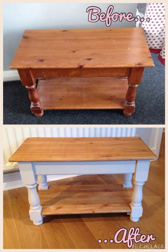 Refurbished Shabby Chic Pine Coffee Table In Autentico Chalk A