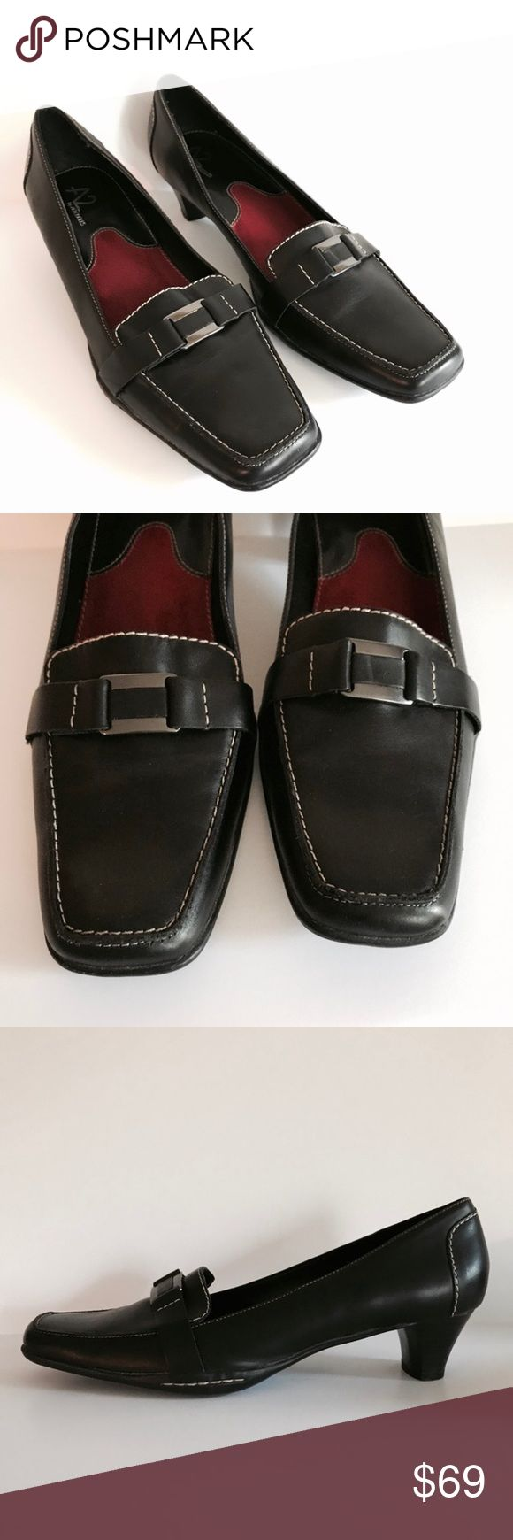 A2 by Aerosoles tailored leather shoes, sz. 11 A2 by Aerosoles tailored Safety Latch black leather shoes, sz. 11. Excellent condition! A2 By Aerosoles Shoes