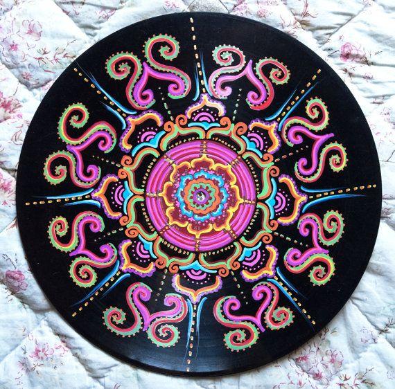 Vinyl Record Art Grateful  Acrylic on Vinyl Mandala by ByJenWest
