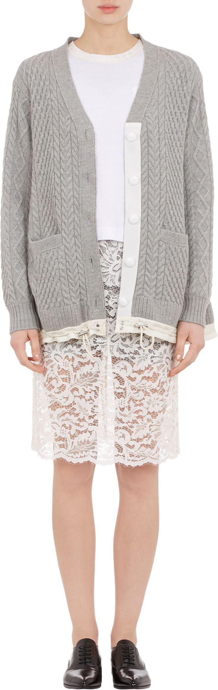 Sacai Luck Cable-Knit Drawstring Swing Cardigan at Barneys.com