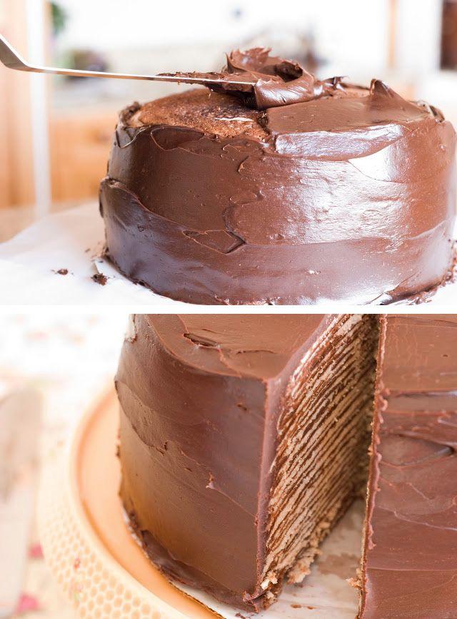 Tarta de crepes con chocolate