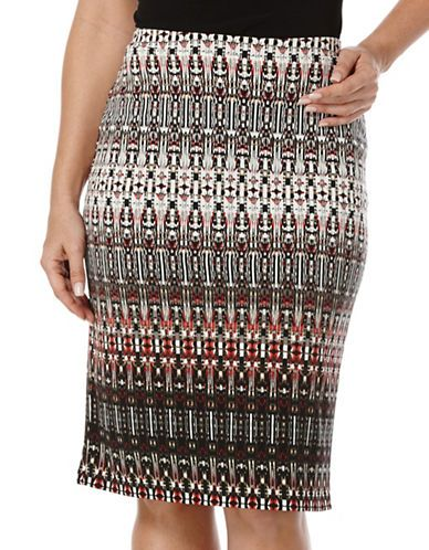Rafaella Petites Petite Printed ITY Sepia Tube Skirt Women's Deep Sepi