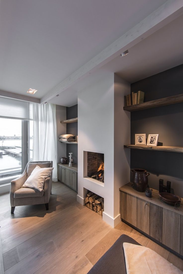 17 best ideas about grey fireplace on pinterest fireplace ideas stone fireplace makeover and - Deco moderne open haard ...