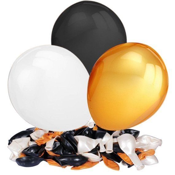 Event Balloons | Black white and golden balloons | Graduation party | 50th birthday | Retirement celebration