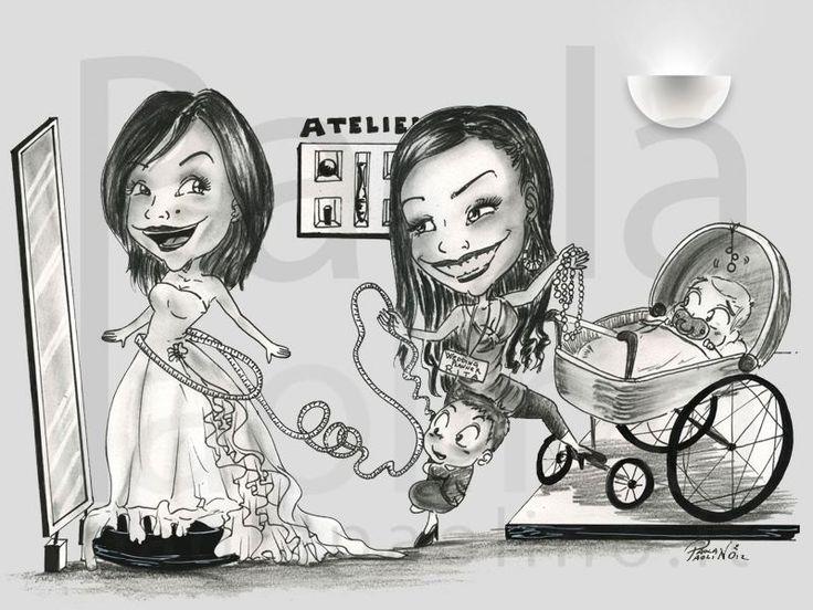 Caricatura della sposa in atelier, con la wedding planner affaccendata tra le misure del vestito e la cura dei bambini. www.paolapaolino.it #caricature #caricatura #caricaturista #ritrattista #illustrazione #arte #matrimonio