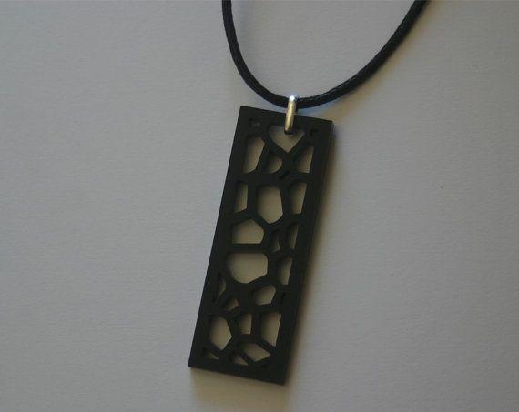 Modern Rectangular Cellular Laser Cut by DonnaCoralieDesigns.  #necklace