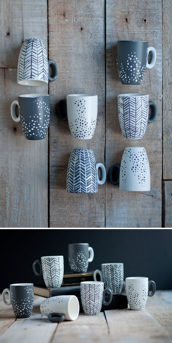 Stacked in a tower and laid out in a playful way on wooden surface. Tone and texture - would work well for ink or CIrro. Painted Cups | this heart of mine blog