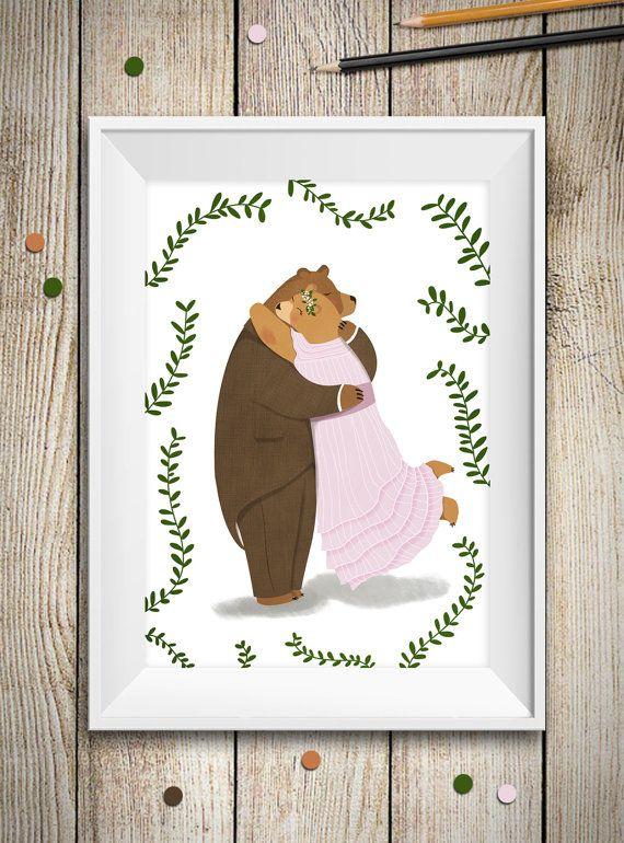 Illustrazione Coppia di Orsi innamorati - arte camera bambini - regalo di matrimonio anniversario - stampa orsi - animali nel bosco