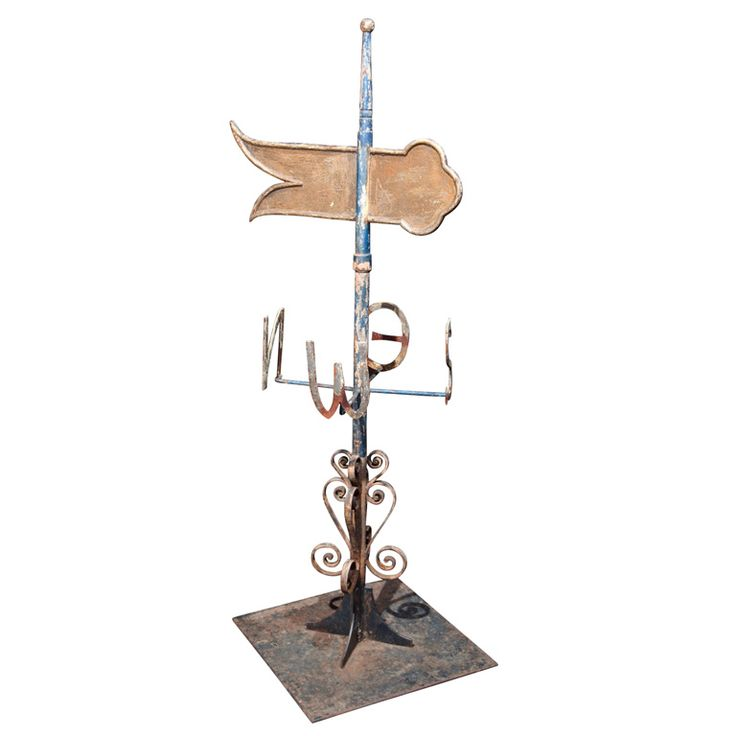 English or Upper Atlantic Coast iron weather vane, c. 1900-20 | From a unique collection of antique and modern weathervanes at https://www.1stdibs.com/furniture/folk-art/weathervanes/