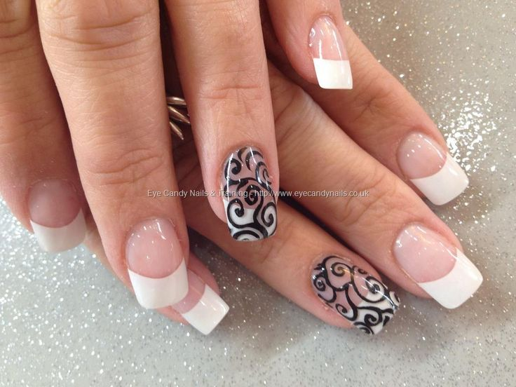 86 best nail designs images on pinterest nail art beautiful and white acrylic tips with black freehand nail art prinsesfo Images