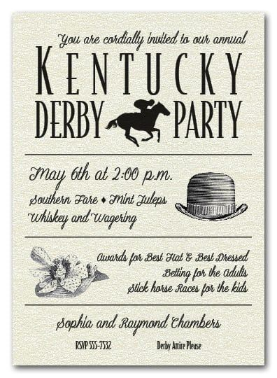 Billboard Kentucky Derby Day Party Invitations are printed in shimmery quartz white papers and have matching envelopes. Perfect for your Kentucky Derby Party invitations, horse racing theme invitations and more.  Printed on Shimmery Quartz Paper Your invitation will be set up inthe format shown and will use only the fonts shown - please submit your information to fit this format