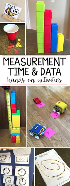 I love teaching measurement, time, and data with a bunch of hands on activities! My first graders love racing cars and measuring how far they went, collecting cubes, sorting and graphing them and creating their own clocks! See more ideas on the post!