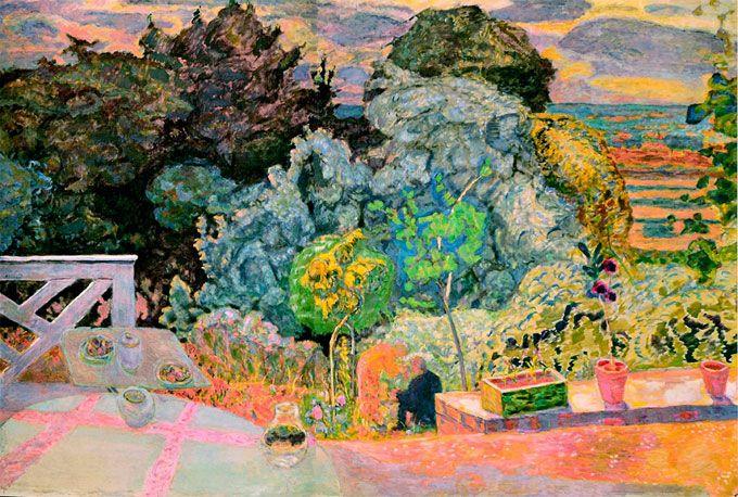 Пьер Боннар. «Терраса». 1918 г. В одном из писем к Матиссу Боннар написал, что природа помогает ему избавиться от всего того, что его отравляет. Работая над пейзажами, один из лучших пейзажистов XX века, создавший не так много полотен этого жанра, сам «лечился», и наделял благодатным даром свои картины.