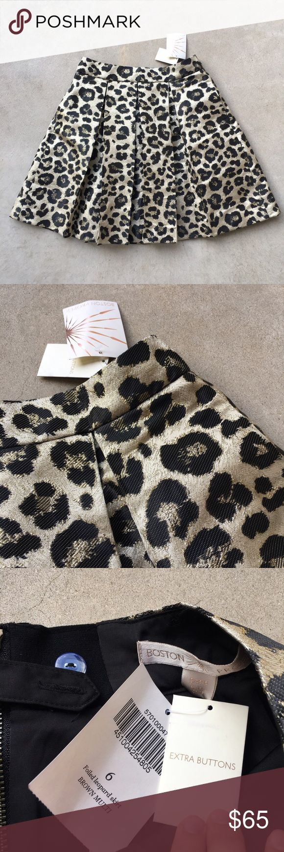 """NWT Boston Proper Foiled Leopard Skirt Gold 6 Brand new with tags. Pictures don't do this skirt justice! Measurements (when flat on table):  Waist across: 14"""" Length: 18.5"""" C1 Boston Proper Skirts A-Line or Full"""