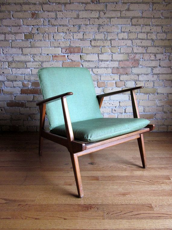 reserved  Eames Era Green Vinyl Lounge Chair 50s by AttysVintage