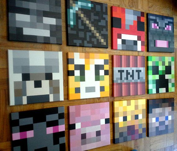 "Minecraft inspired wall painting,12""x12"" Canvas,  boys room, original acrylic painting, hand painted"