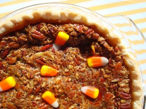Candy Corn Pecan Pie: Sweet, Holiday Recipe, Corn Pecan, Food, Candy Corn, Halloween Candy, Pecan Pies, Thanksgiving, Pecans