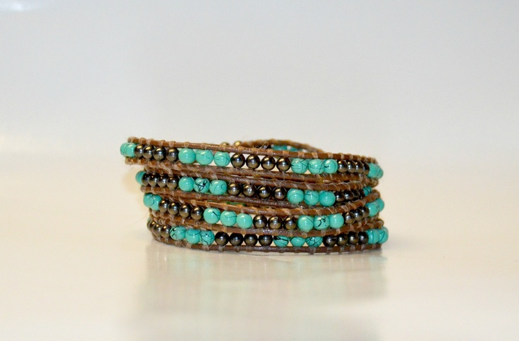 Turquoise and metal multi-wrap bracelet