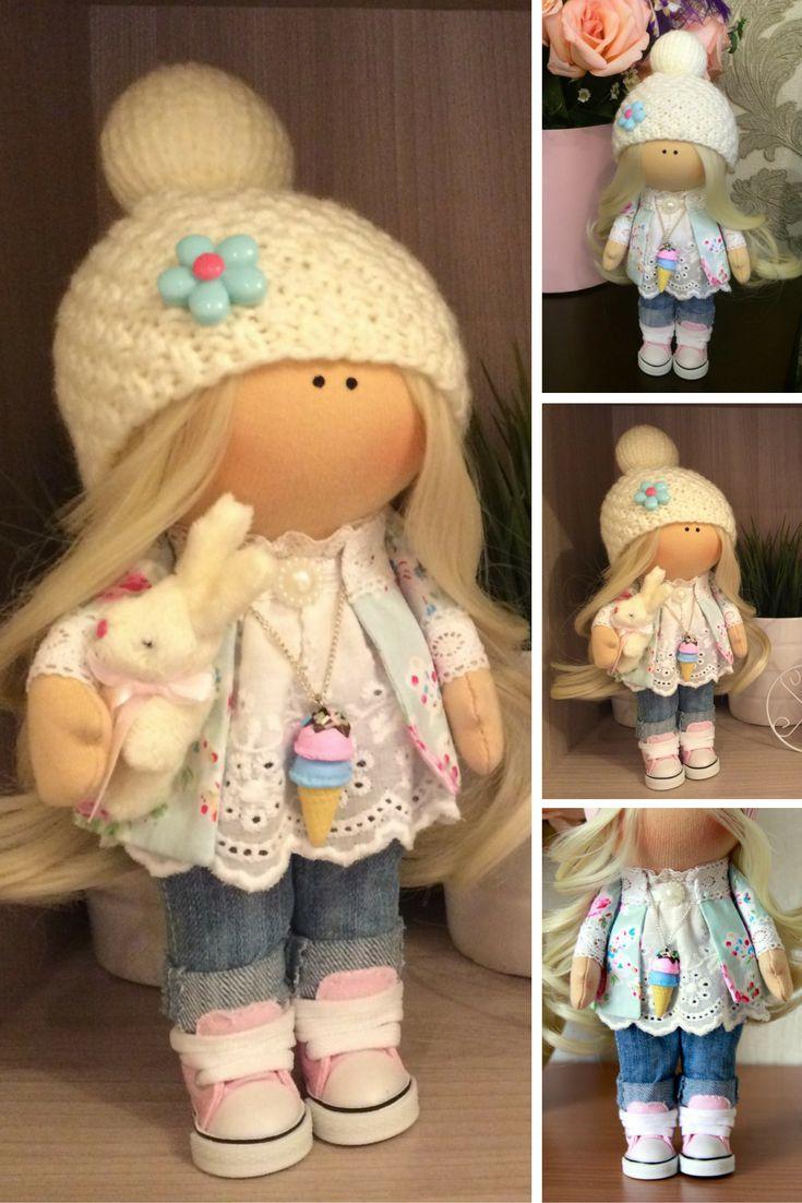 Handmade doll Nursery doll Soft doll Art doll Fabric doll Cloth doll Baby doll Tilda doll Christmas doll White doll Rag doll Toy by Tanya A