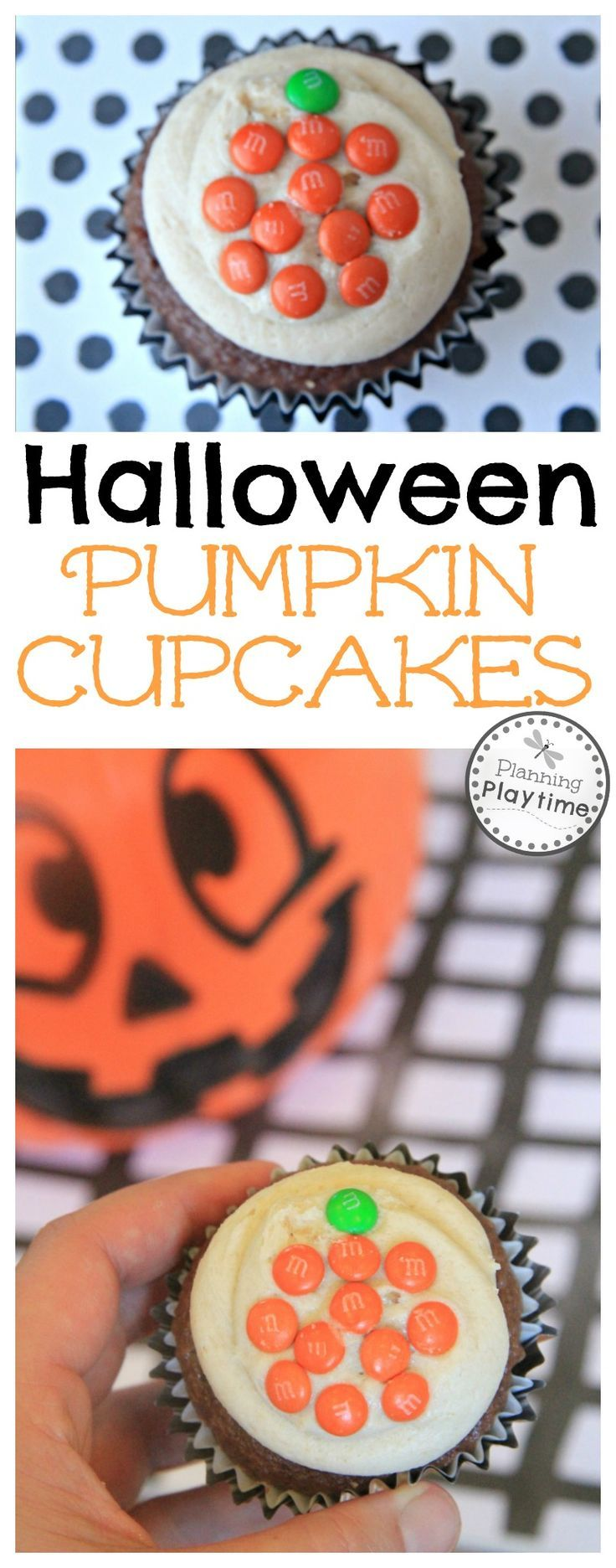 easy halloween pumpkin cupcakes decorated with mms - Mms Halloween
