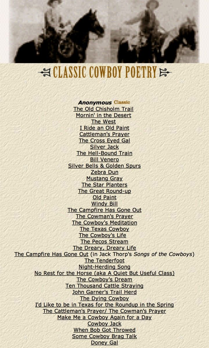 Website contains classic cowboy poetry, including what's listed here.