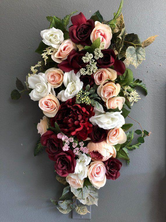 Burgunder-Blush Hochzeit Pew Flowers, Laterne Blume Akzente, kleine Beute, Boho We …   – Wedding